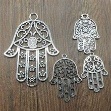 153874594b76 Dijes de mano Hamsa Vintage Chapado en plata Hamsa dijes de mano colgante  joyería grande Hamsa encantos de mano accesorios de jo.