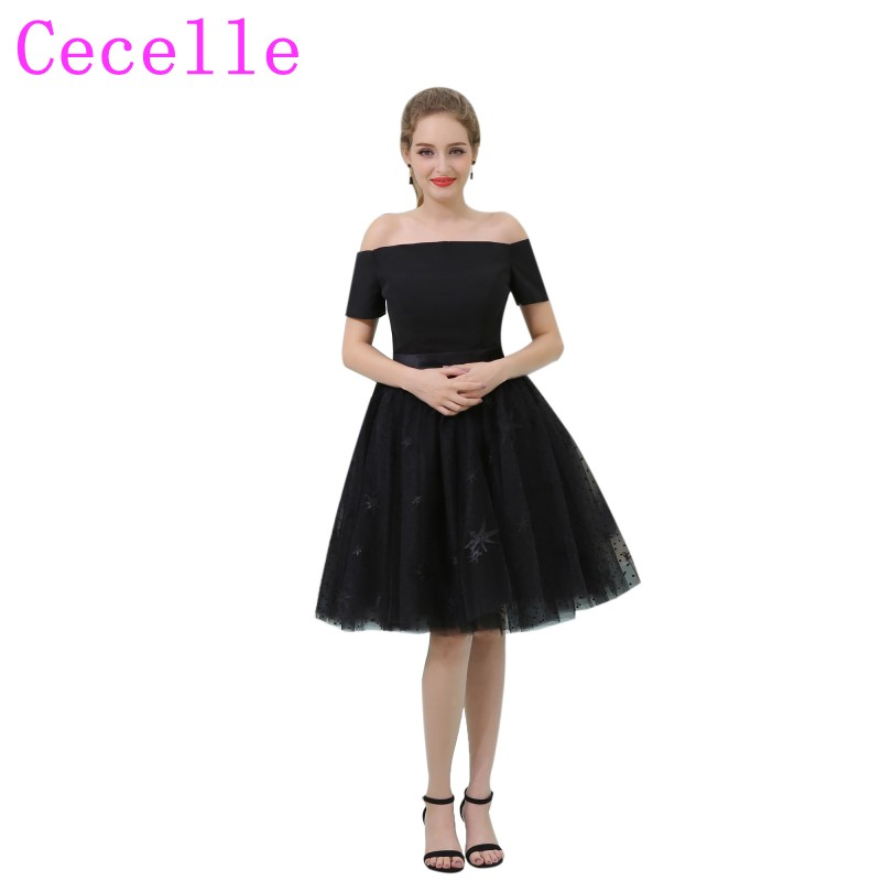Simple Black Short   Cocktail     Dresses   Off the Shoulder Short Sleeves Knee Length Little Black   Dresses   For Teens Semi Formal Party