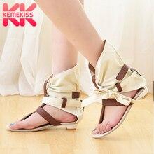 KemeKiss Big Size 34-43 Fashion Women Gladiator T straps Flat Heel Sandals Summe