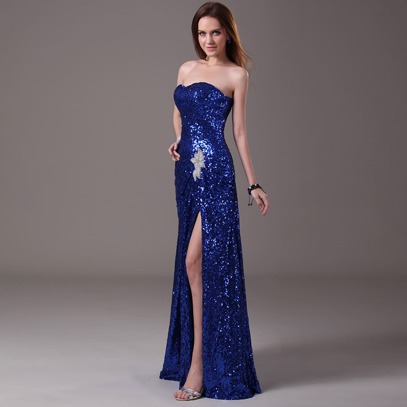 Popular Blue Sequin Bridesmaid Dress-Buy Cheap Blue Sequin ...