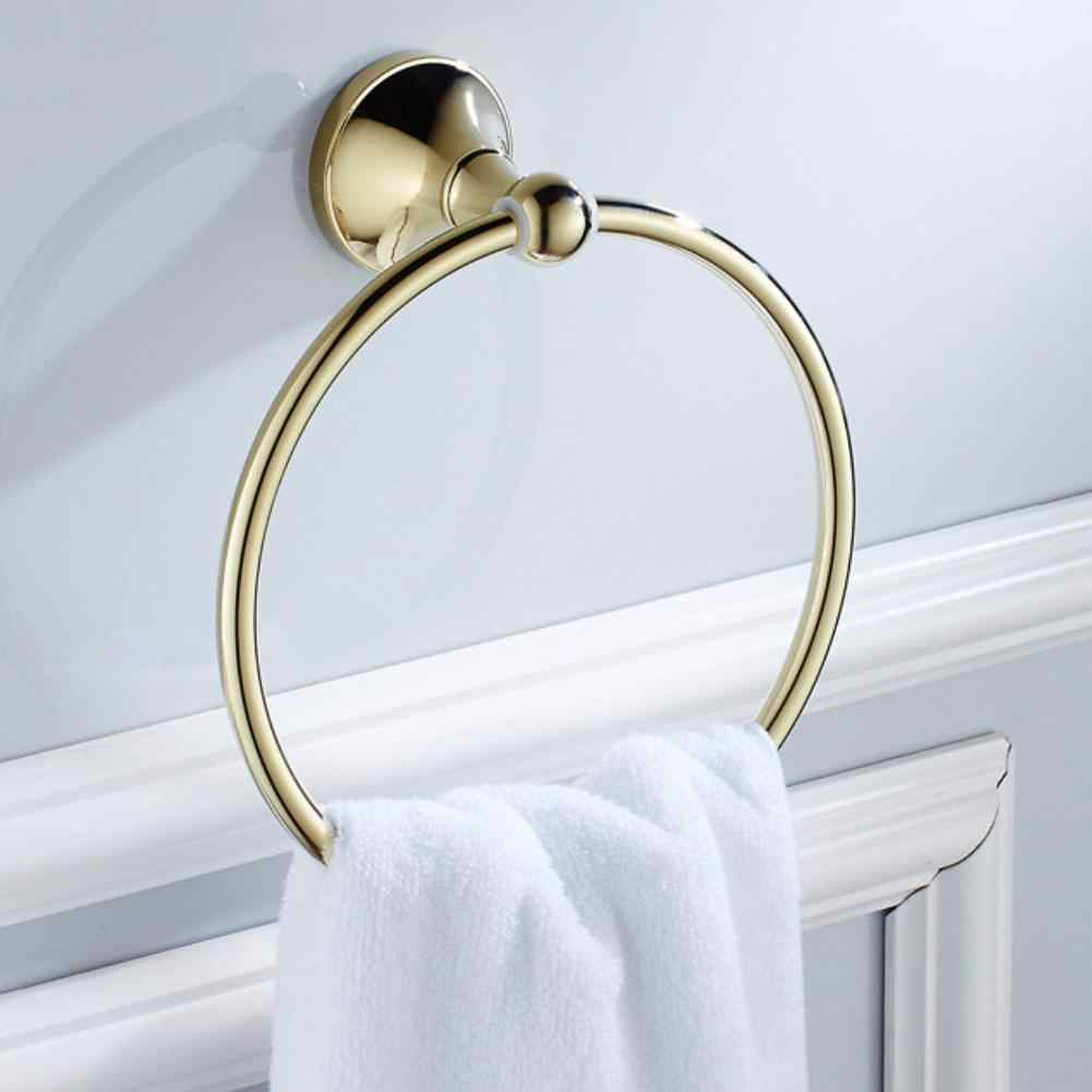 New Gold Plated Bath Wall Mounted Chrome Towel Ring Hand Rack Roll Rail Towel Holder Toilet Furnitures Bathroom Hardware