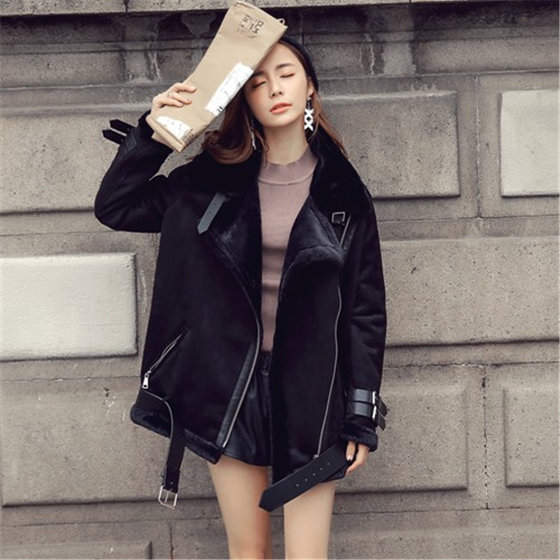 Big Size Faux Sheepskin Coat Winter Women Leather Jacket Suede Black  Motorcycle Faux Leather Jacket Long Outwear Chaquetas Mujer-in Leather    Suede from ... 995db0730c93
