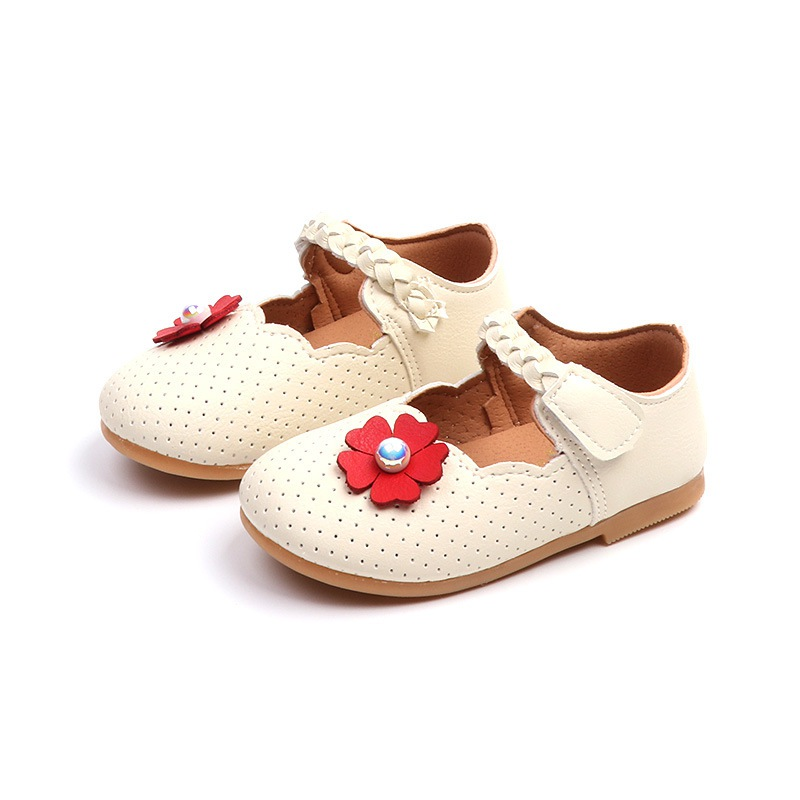Kids Toddler Girls Flat Shoes Child Flower Pearl Fashion Leather Shoes For Girl