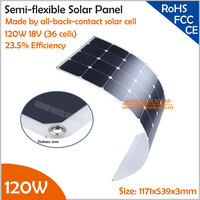 120W 18V Semi Flexible Solar Panel with Backside Junction Box 23% High Efficiency SunPower Solar Cell PV moudle for 12V System