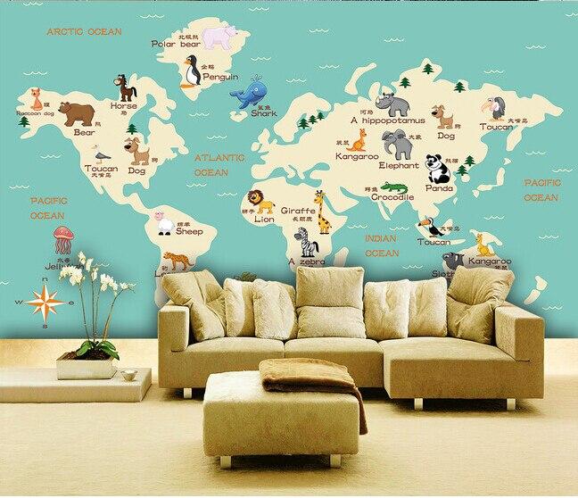 Papier peint personnalisé DE parede infantil, animaux carte du monde peintures murales pour enfants chambre salon fond d'écran