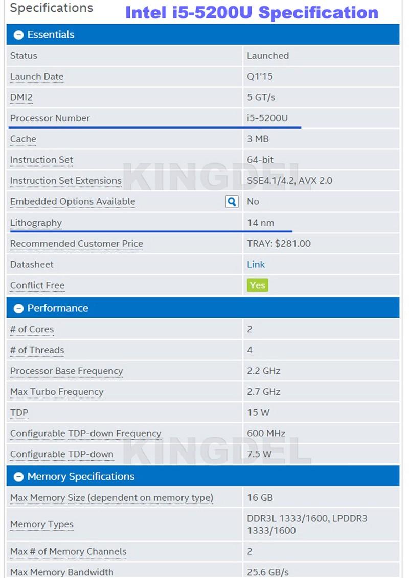 i5-5200U specification-1
