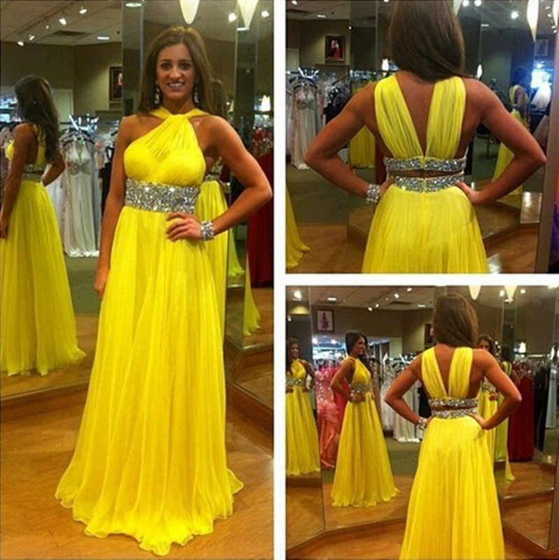 ff550c0748af7 Yellow Chiffon Long Prom Gown Halter Neck Beaded Floor Length Dress ...