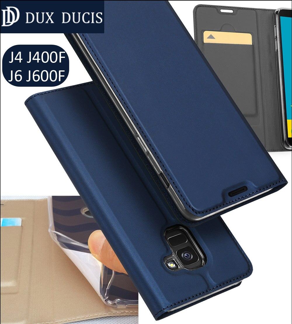 Original DUX DUCIS Case Cover For Samsung Galaxy J6 J600F J4 J400F Book Flip Leather Wallet Coque