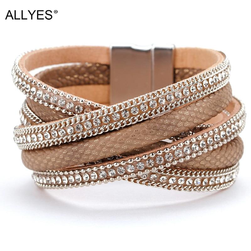 ALLYES Leather Bracelet Women Jewelry X Cross Magnet Snake Skin Pattern Rhinestone Wrap Multilayer Bracelets & Bangles Female