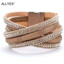 ALLYES Chic Brown Multilayer Rhinestone Criss Cross PU Leather Magnet Winding Wrap Bracelets & Bangles Women Jewelry Accessories stylish buckle criss cross pu leather corset for women