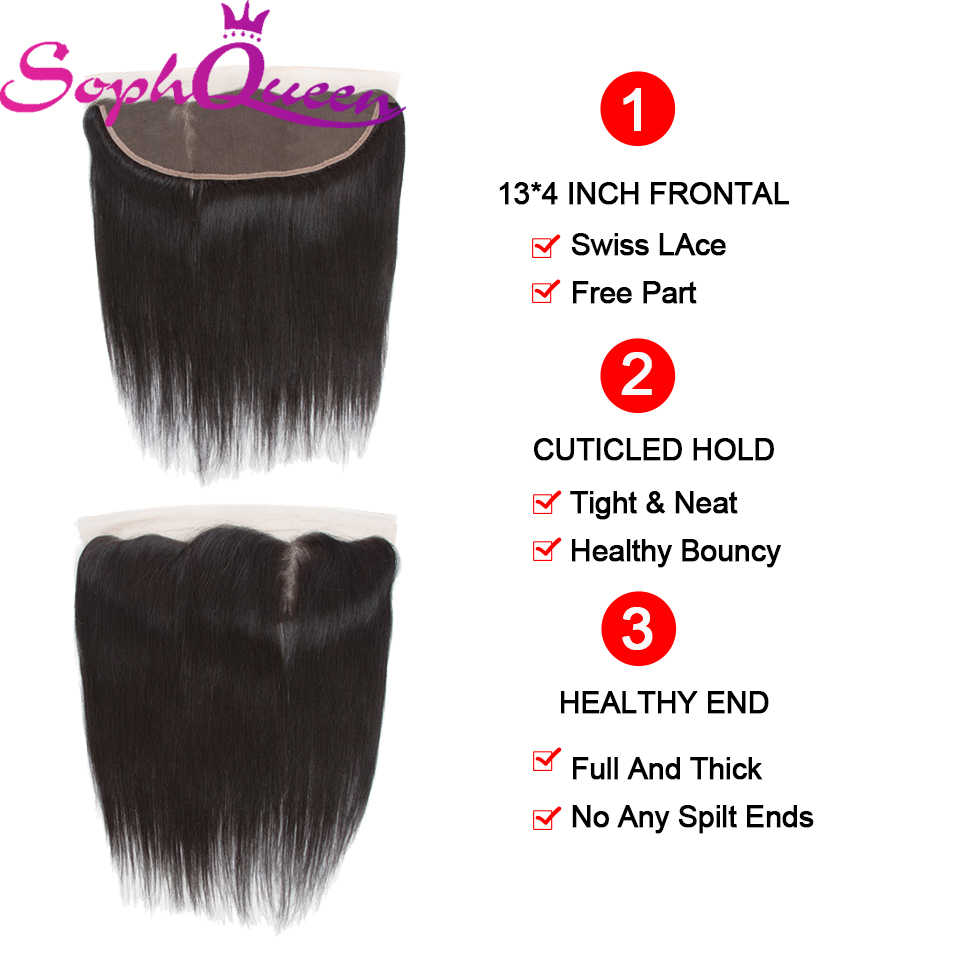 Soph Queen Hair Brasiliani Fasci di Capelli Lisci Con Frontale Remy Fasci Del Tessuto Dei Capelli Bundles Capelli Umani Con Chiusura