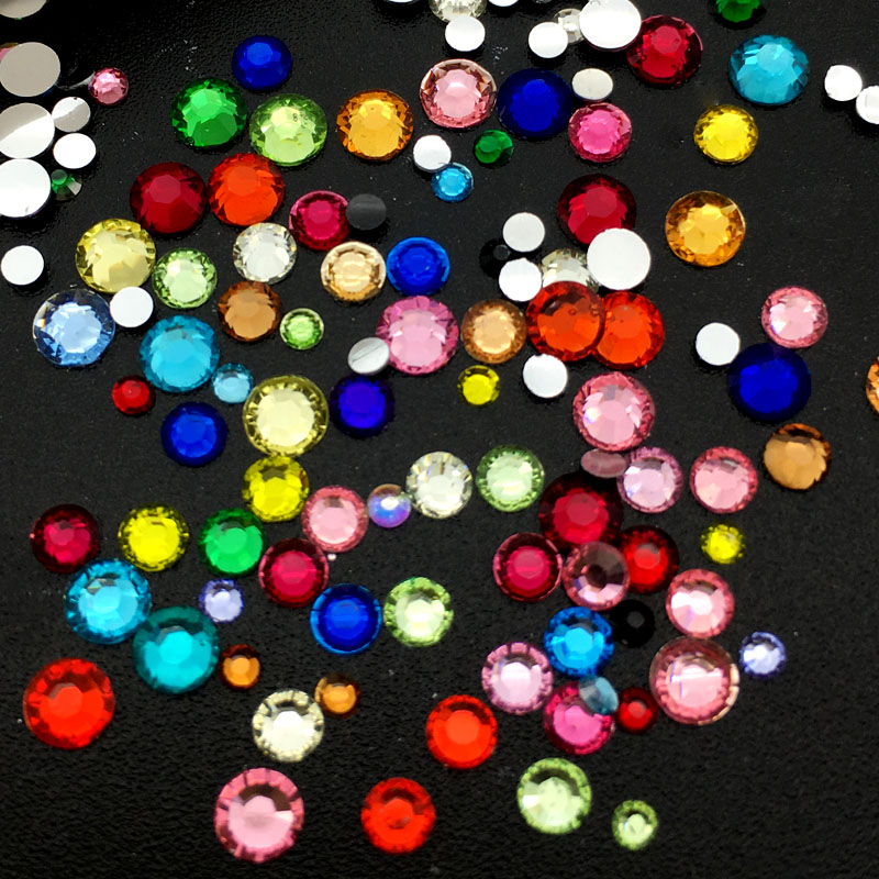 Mix Size Nail Art Rhinestones Colorful Crystal Glitters Nails Shoes And Wedding Decoration 2 3 4MM in Rhinestones Decorations from Beauty Health
