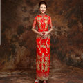 Chinese Oriental Dresses Traditional Chinese Dress Red Qipao Wedding Dress Women Modern Long Sleeve Cheongsam Top Qi Pao QL