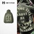 PROVERGOD Street Kanye Long Sleeve Hoodies Hip Hop Army Military Letter Print Pullover Sweatshirt For Men Cool Streetwear