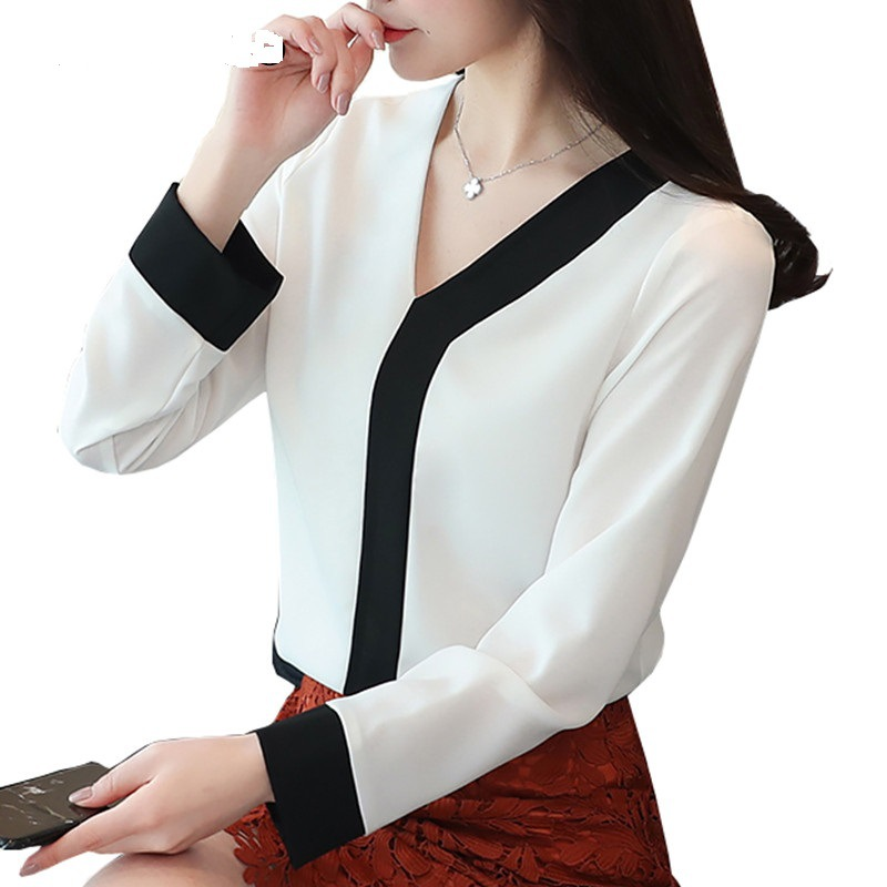 Patchwork Chiffon Shirt Blusa Office Lady White Yellow Blouse Spring Summer Shirts Women's Blouses Tops Long Sleeve V Neck Black