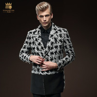FreeShipping New fashion casual male Men's long sleeved winter 2015 long slim single breasted suit collar coat 0097 fanzhuan