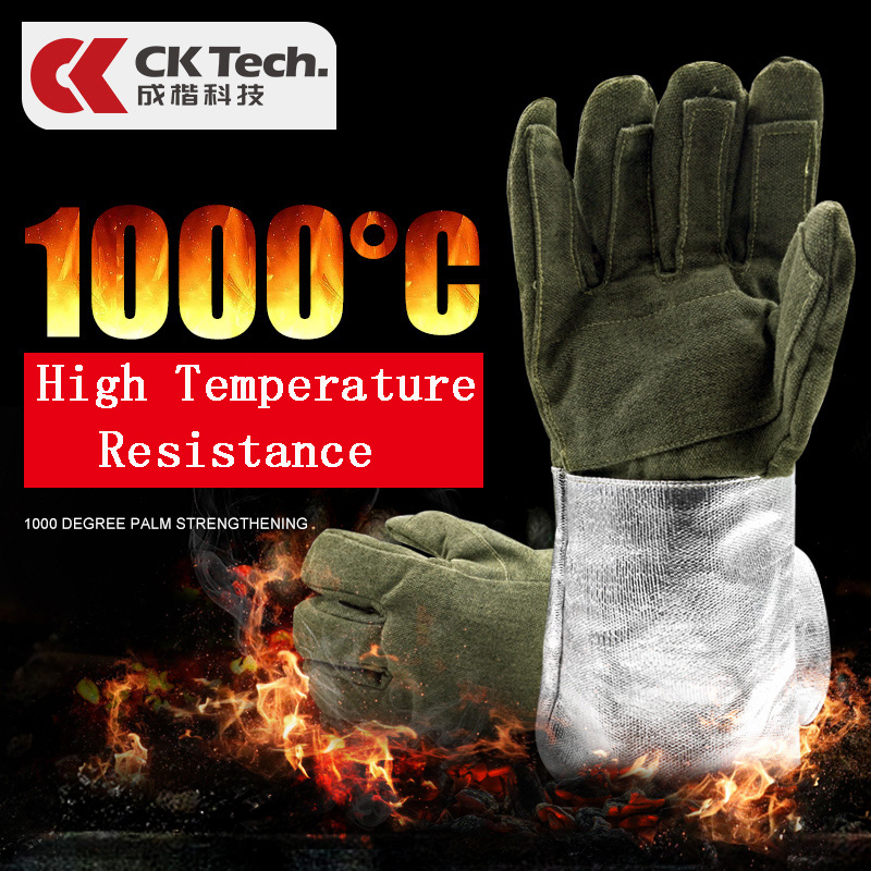 CK Tech. Heat Insulation 1000 Degree Aluminum Foil Gloves High Temperature Working Flexible Anti-scald Glove Fire Protection