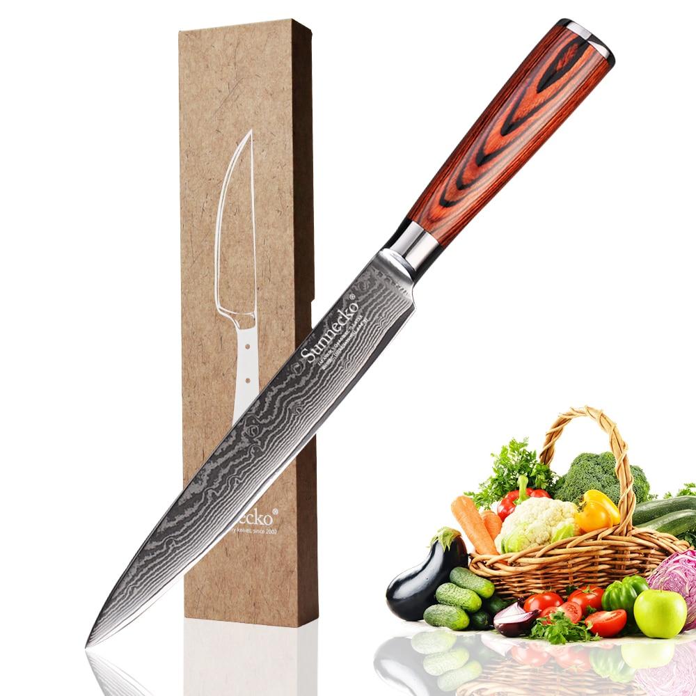 SUNNECKO 8 inch Slicing Knife Damascus Steel Japanese VG10 Sharp Blade Kitchen Knives Pakka Wood Handle