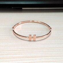 Fashion jewelry bracelet Rose gold light face H female bracelet Titanium steel accessories Lovers gift