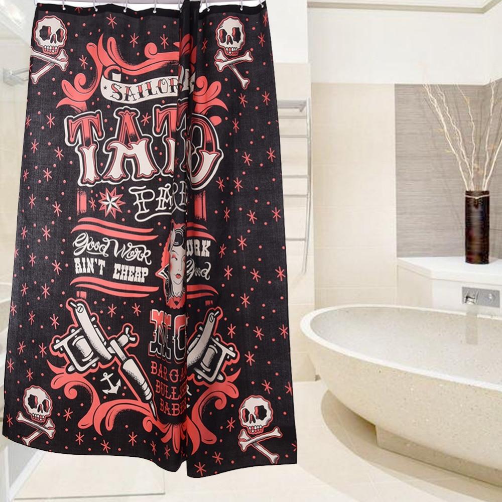 nieuwe collectie waterdichte piraat schedel tattoo scrawl badkamer gordijn 100 anti schimmel polyester douche gordijnen 180200 cm in nieuwe collectie