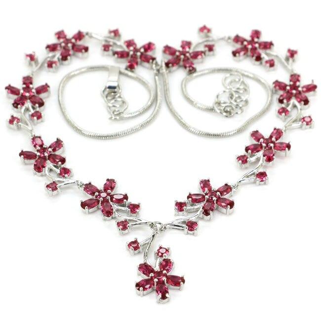 Gorgeous Flower Pink Raspberry Rhodolite Garnet Woman's Wedding 925 Silver Necklace 18-19inch 48x20mm