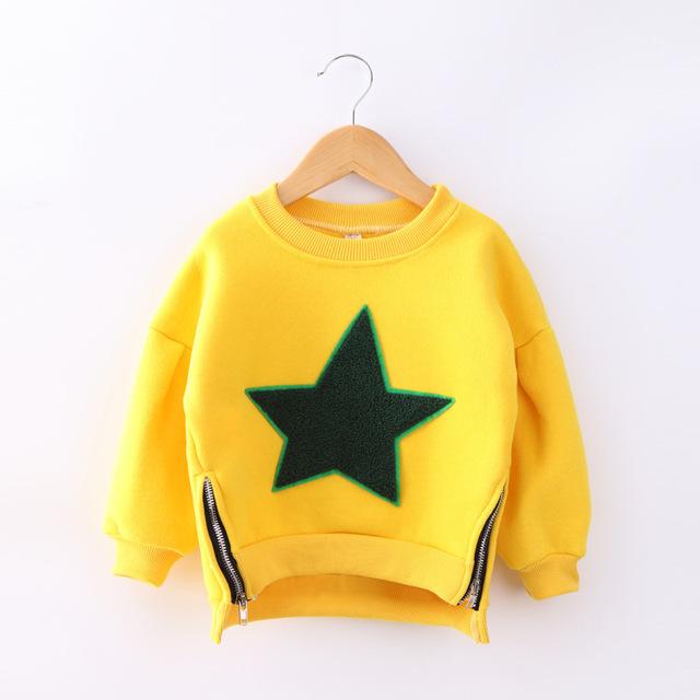 Camisetas de los niños 2016 nueva marca otoño invierno niños niñas ropa ropa de moda caliente de felpa de algodón superior del niño camiseta J6909