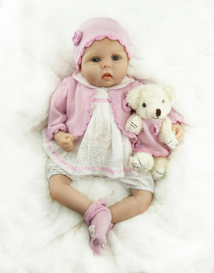 55cm New Soft Silicone Reborn Baby Doll Toy Lifelike fake baby Girl Princess Doll With Bear