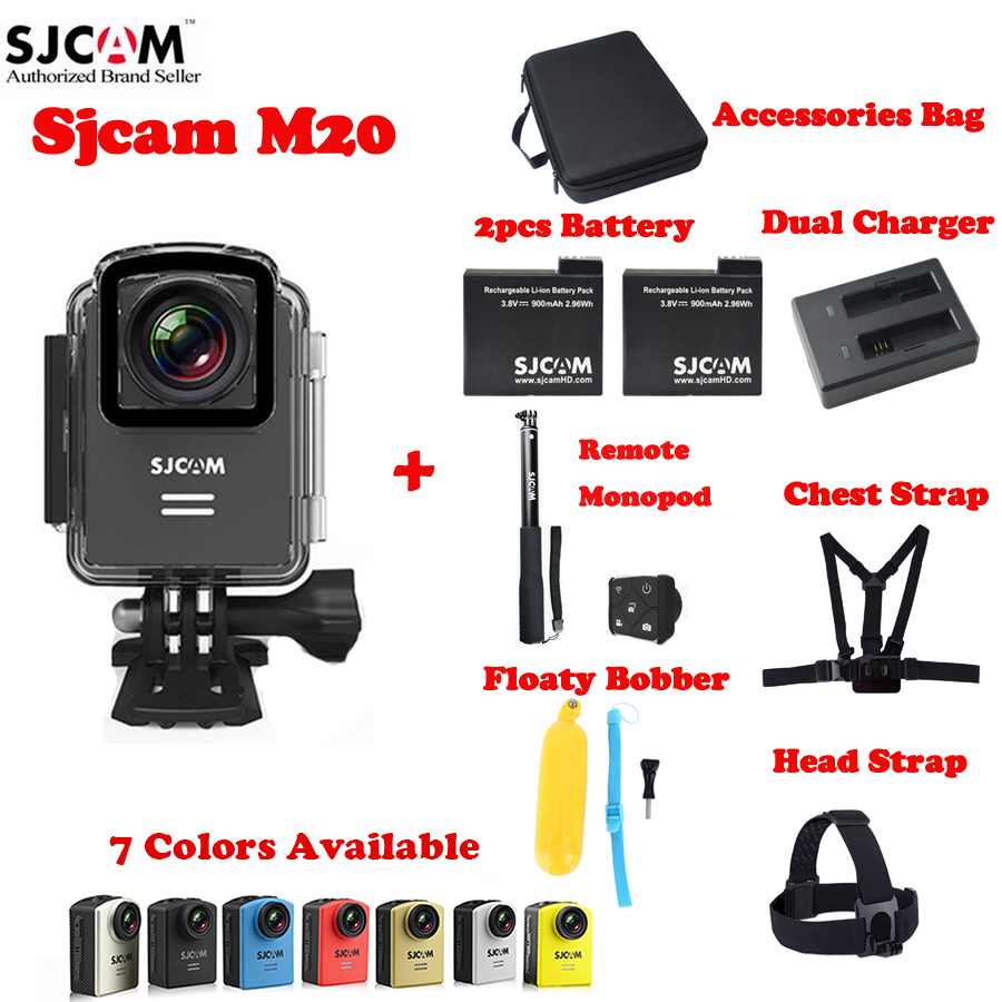 SJCAM M20 Wifi 30M Waterproof Sports Action Camera Sj Cam DV+2Battery+Dual Charger+Remote Monopod+Head,Chest Strap+Floaty+Bag original sjcam m20 wifi 4k 24fps 30m waterproof sports action camera sj cam dvr 2 extra battery dual charger remote monopod