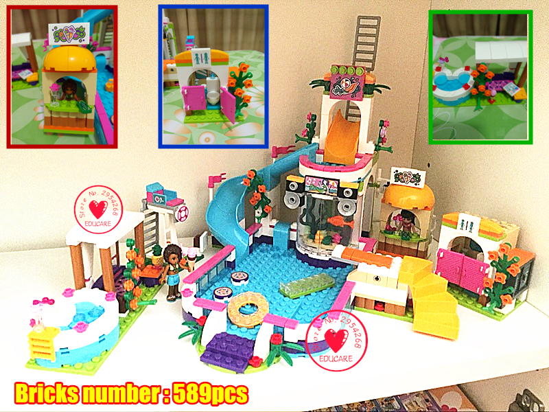 01013 Girls club lepin Heartlake Summer Pool Educational model Building block kit Brick Compatible legoe friends kid gift set
