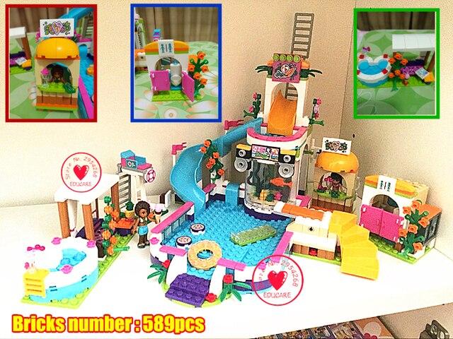 2018 New Girls club Heartlake Summer Pool Education toy model ...