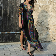 Black Indie Folk Turkey Kaftan Beach Dress Sexy V-Back Plunging Neck Half Sleeve Side Split Plus Size Women Summer N645