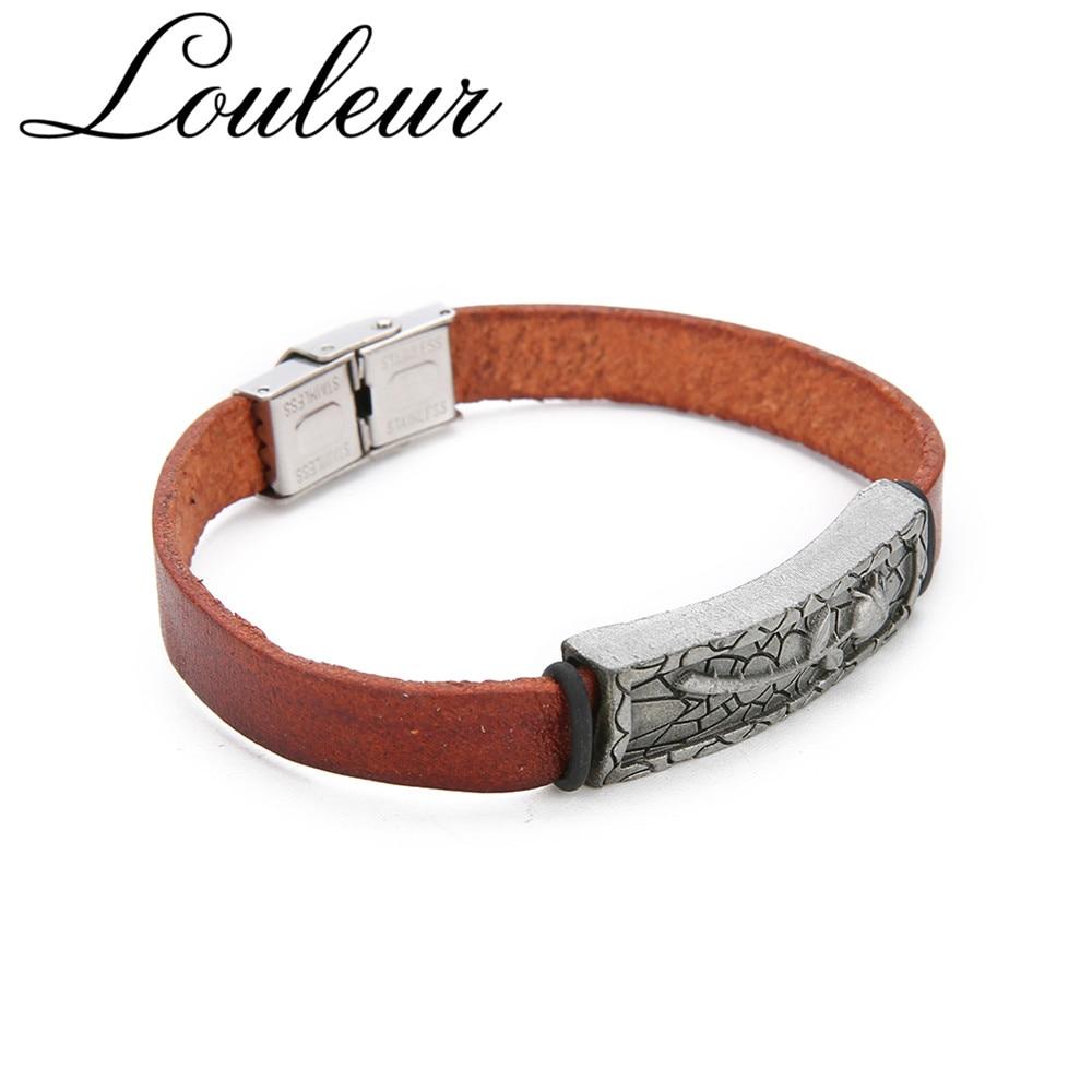 Louleur 2019 New Vintage Engraved Rose Genuine Leather Bracelets For Men Brown Charm Bangles For Lovers' Valentine's Day Gifts
