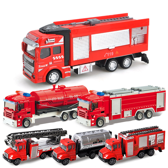 1/48 Fire Rescure Series Alloy Car Kids Simulation Diecast Vehicle Toy Pull Back Metal Fire Resucre Truck Model Car Toys Gifts