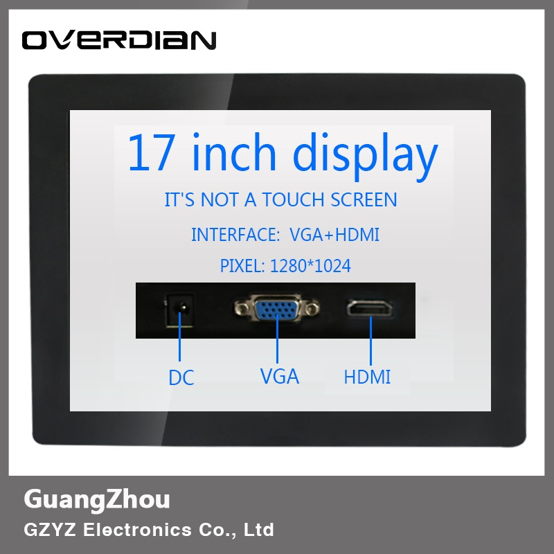 17inch/17 VGA/HDMI Connector Iron Frame LCD Monitor/Display 1280*1024 Non-Touch Screen Resolution4:3 Buckle Installation display 10 4 vga hdmi connector monitor 1024 768 song machine cash register square screen lcd monitor display non touch screen