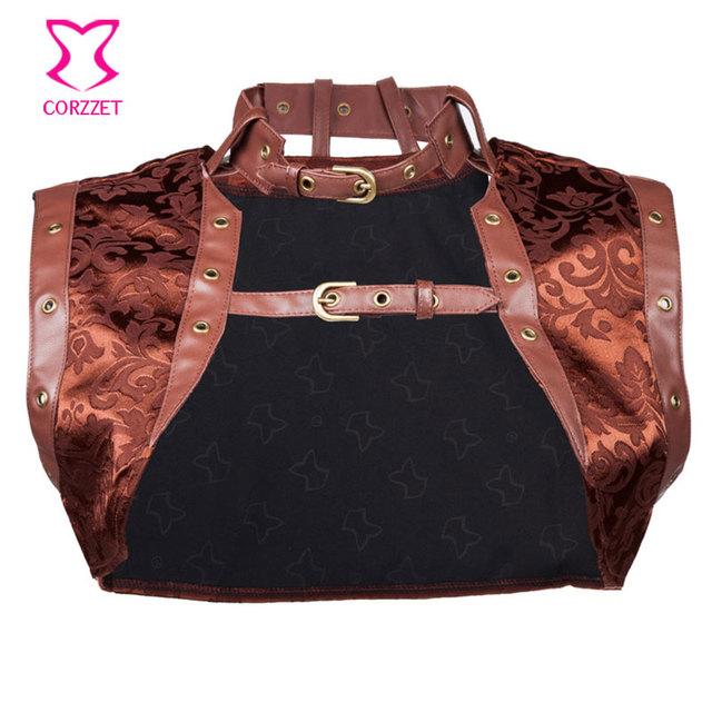 Marrom Sexy Brocade e Jaqueta de Couro Falso Steampunk Corset Mulheres Plus Size Vestuário Gótico Burlesque Costume Acessórios