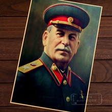 Comandante soviético Stalin estándar retrato líder revolucionario WW2 Retro Vintage cartel de papel Kraft DIY pared hogar Bar decoración regalo