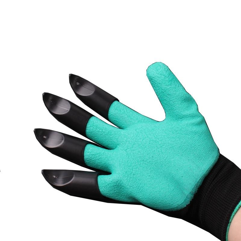 Guantes que trabajan en el jardín de goma constructores de poliéster guantes de trabajo cavando guantes domésticos garras de plástico jardinería envío gratis
