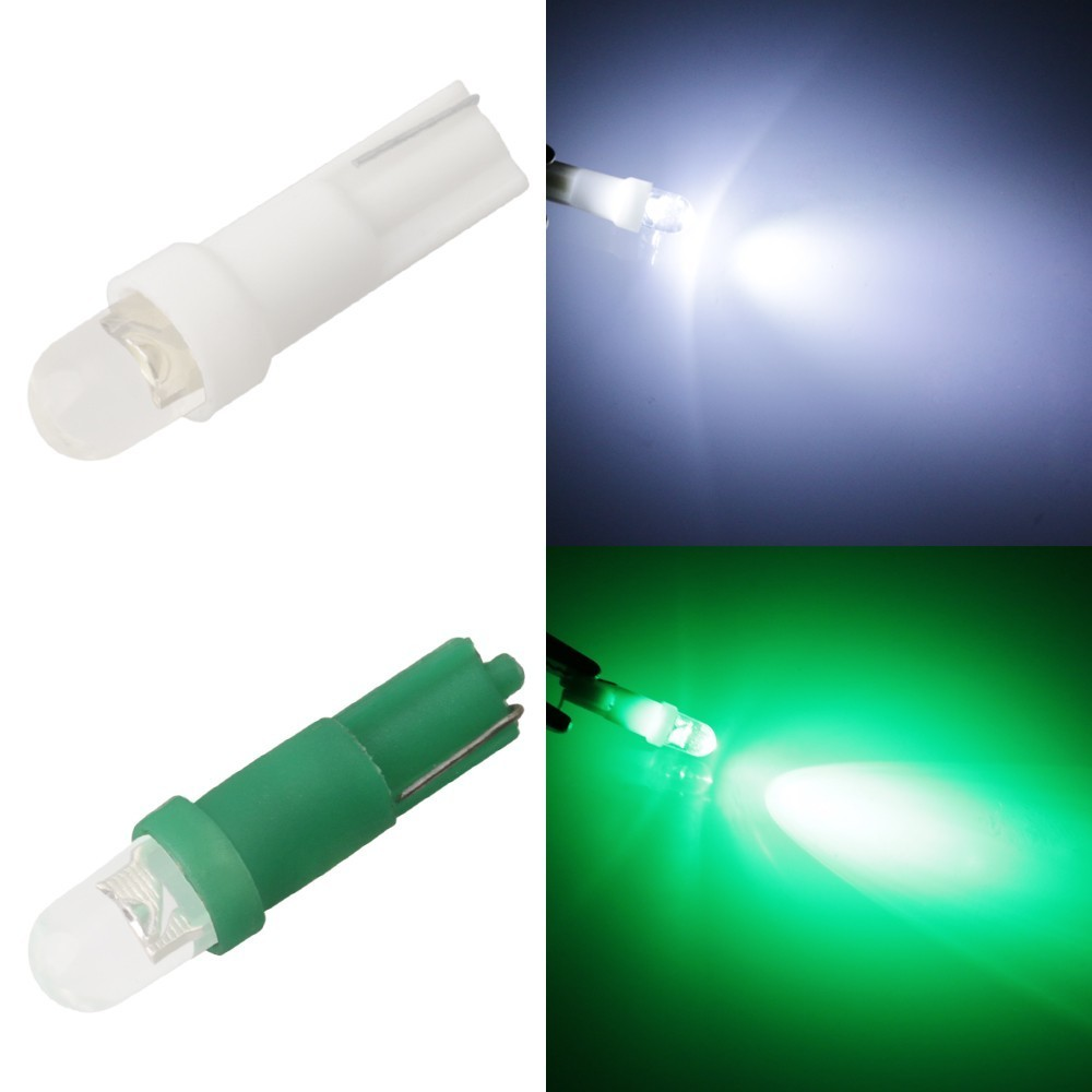Hot Sale 10pcs 12V Car Interior Lamp T5 Led 1 SMD Dashboard Wedge 1LED Car Light T5 Bulb Led T5 Yellow Blue Green Red White Led t5 1 smd red dashboard wedge led car light bulb lamp 74 dash led car bulbs interior lights car light source parking 12v