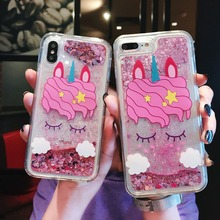 For iPhone 6 6S 7 8 Plus X Phone Case Unicorn Liquid Quicksand Silicone Cover For iPhone 8 Plus 7 Plus 6 6S Plus Phone bag for iphone x 6 6s 7 8 plus case fashion girl chat page coffee cup liquid quicksand silicone cover for iphone 8 plus phone bag