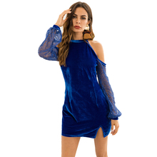 2018 Winter Autumn Bodycon Dresses Sexy Blue Black Lace Long Sleeve Off  Shoulder Dress Club Evening af044bd7a34e
