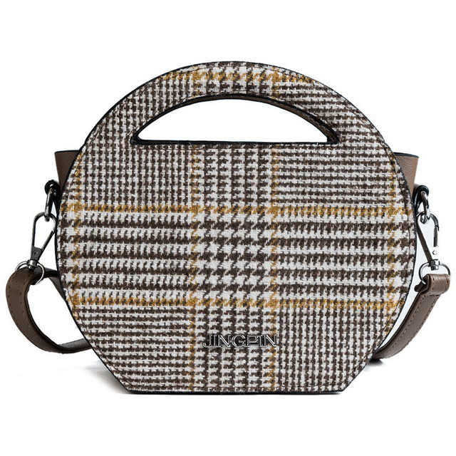2018 Women Wool Trendy Plaid Bag Brand Designer Small Round Handbag Vintage  Wide Shoulder Strap Bag Female Casual Messenger Bags 32af939690