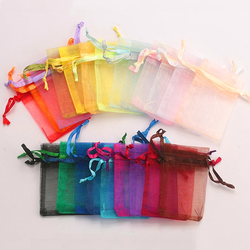 Wholesale 16 Color 100pcs/lot 9*12cm Organza Christmas Wedding Gift Bags Candy Bag Jewelry Packing Drawable Organza Bags&pouch