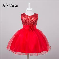 Это yiiya Новый Pleat драпировкой для девочек в цветочек платья красный принцесса бальное без рукавов с круглым вырезом для девочек платье L067