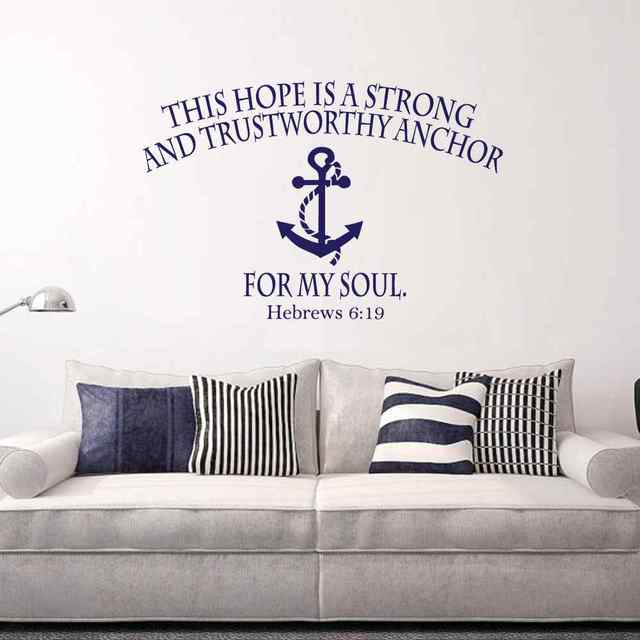US $12 48 |Bible Verse Wall Decal Hope Anchors The Soul Hebrews 6:19 Wall  Decals Nautical Anchor Scripture Vinyl Lettering Home Decor-in Wall  Stickers