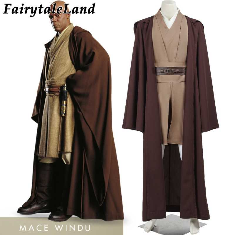 Star Wars Jedi Knight Keule Windu Cosplay Kostüm Halloween Karneval Party Anzug Superhero Outfit Krieger Kleidung