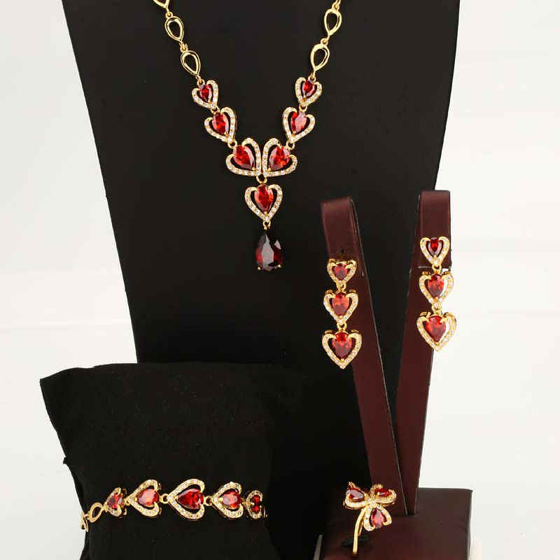Wedding Jewelry Set Fashion Heart Shaped White/Gold Color Luxury Copper White/Red Stone Necklace Earrings Ring  Women Jewelry