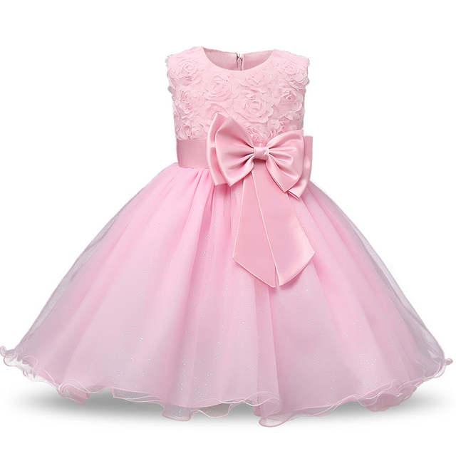 Free shipping 2018 New girls party dress beautiful rose bow grace princess  dresses fashion solid kids f08b4123a43c