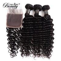 Deep Wave Bundles With Closure Brazilian Hair Weave Bundles Human Hair 3 Bundles With Closure Free