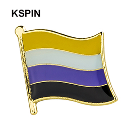 Nonbinary pride flag pride flag lapel pin badge pin 100pcs a lot Brooch Icons