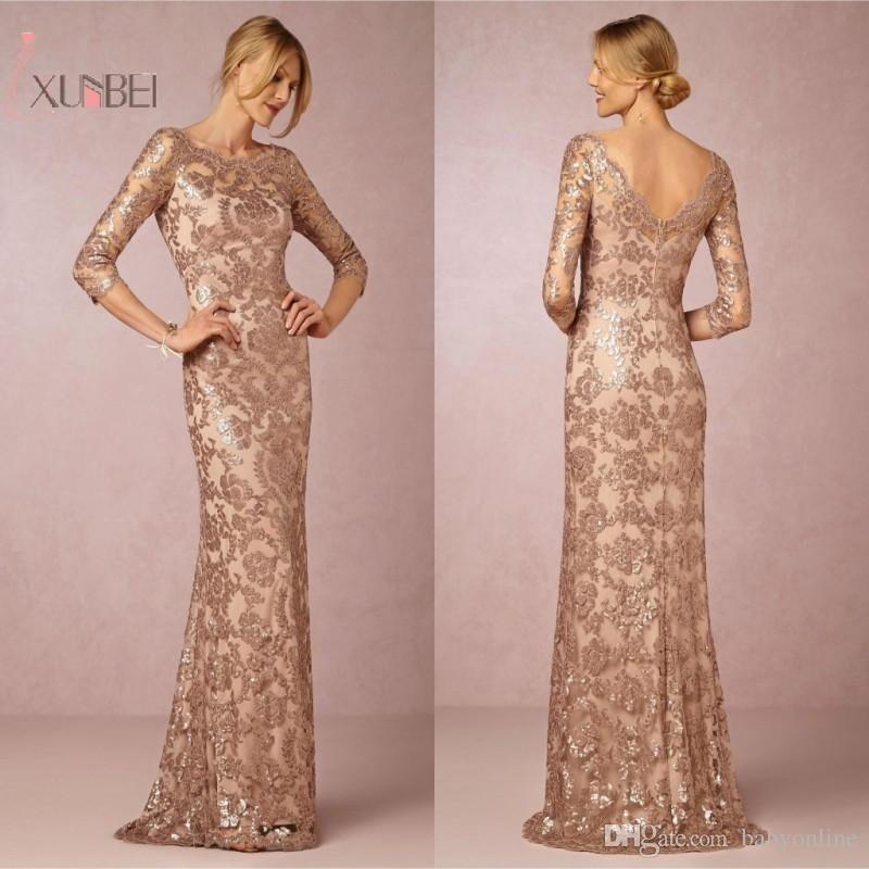 2019 Rose Gold Sequin Mermaid Long   Prom     Dresses   Half Sleeve Backless   Prom   Gown vestido de festa gala jurken